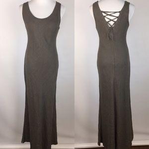 Lavinia Temple Linen Maxi Lace-Up Back Dress XS